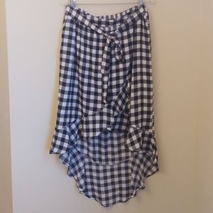 Fourteenth Place high lo gingham plaid wrap Skirt